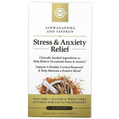 Препарат для снятия стресса и тревоги, ашваганда и шафран, Stress & Anxiety Relief, Ashwagandha And Saffron, Solgar, 30 таблеток
