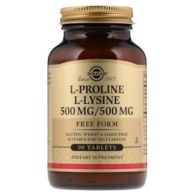 Пролин/Лизин, L-Proline/L-Lysine, Free Form, Solgar, 500 Мг/500 Мг, 90 таблеток