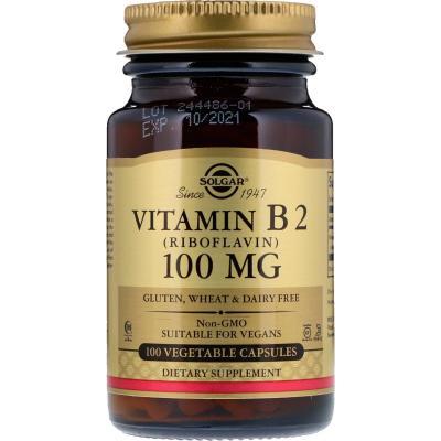 Рибофлавин, Vitamin B2, Solgar, 100 мг, 100 капсул