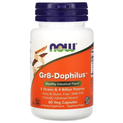 Пробиотики, Gr8-Dophilus, Now Foods, 4 млрд КОЕ, 60 капсул