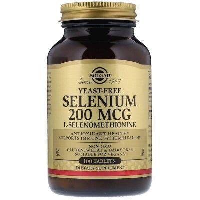 Селен без дрожжей, Selenium, Solgar, 200 мкг, 100 капсул