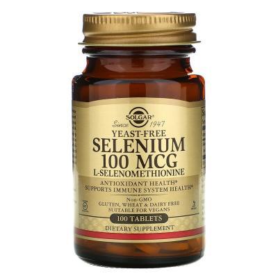 Селен, Selenium, Solgar, 100 мкг, 100 таблеток