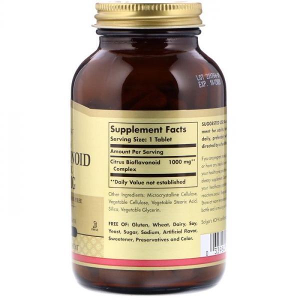 Цитрусовые биофлавоноиды, Citrus Bioflavonoids Complex, 1000 мг, Solgar, 100 таблеток