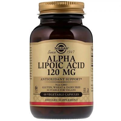 Альфа липоевая кислота, Alpha Lipoic Acid, Solgar, 120 Мг, 60 Капсул