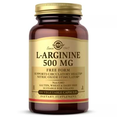 L-Аргинин, L-Arginine, Solgar, 500 мг, 100 капсул
