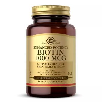 Биотин (В7), Biotin, Solgar, 1000 мкг, 100 вегетарианских капсул