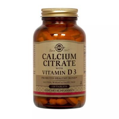 Кальций цитрат и витамин Д3, Calcium Citrate with Vitamin D3, Solgar, 250 мг/150 МЕ, 120 таблеток