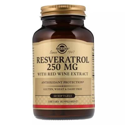 Ресвератрол з Екстрактом Червоного Вина, Resveratrol with red Wine Extract, Solgar, 250мг, 60 мягких таблеток