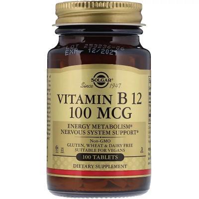 Витамин В12 (Цианокобаламин), Vitamin B12, Solgar, 100 мкг, 100 таблеток