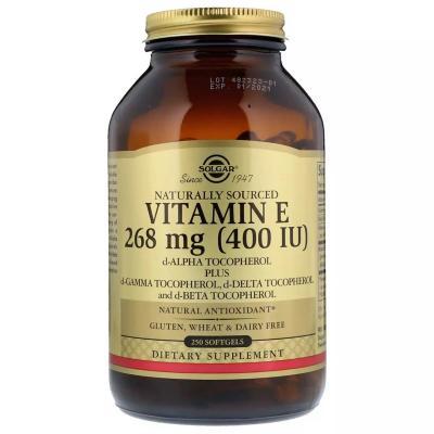 Витамин E, 200 МЕ, Vitamin E 400 IU, Solgar, 250 желатиновых капсул
