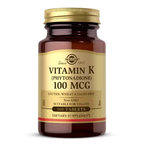 Витамин K, Vitamin K, Solgar, 100 мкг, 100 таблеток