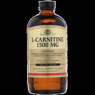 L-карнитин, L-Carnitine, Solgar, 1500 мг, лимонный вкус, 473мл