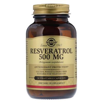 Ресвератрол, Resveratrol, Solgar, 500 мг, 30 гелевых капсул