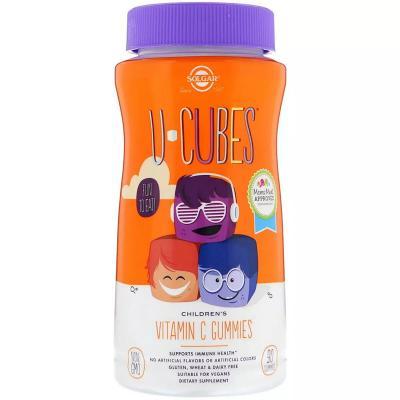 Витамин С жевательный, Children's Vitamin C, Solgar, U-Cubes, апельсин/клубника, 90 жевательных конфет