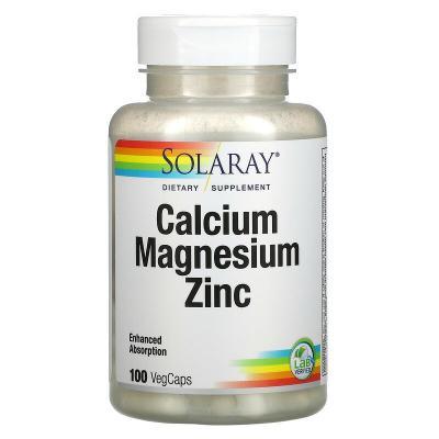 Кальций, магний и цинк, Calcium, Magnesium, Zinc, Solaray, 100 капсул