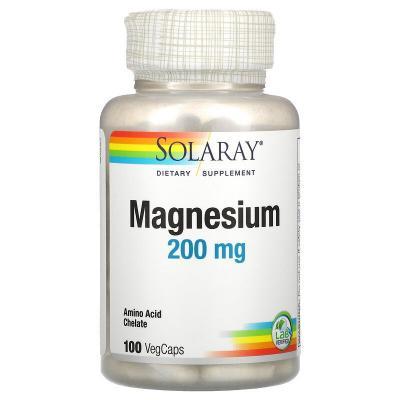 Магний, Magnesium, Solaray, 200 мг, 100 вегетарианских капсул
