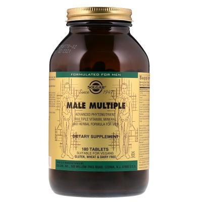 Витамины для мужчин, Solgar, Male Multiple, 180 таблеток
