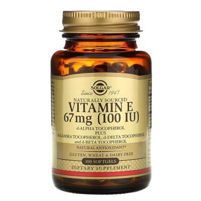 Витамин Е (d-альфа-токоферол), Vitamin E, Solgar, 67 мг (100 МЕ), 100 капсул