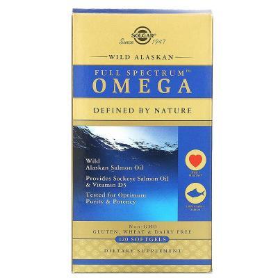 Жир из лосося аляскинского (Full Spectrum Omega), Омега, Solgar, 120 капсул