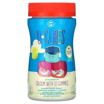 Жевательный кальций с Д3 для детей, Children's Calcium With D3, Solgar, U Cubes, 60 кубиков