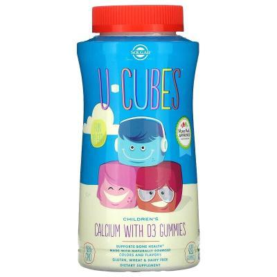 Кальций с D3 для Детей, U-Cubes, Children's Calcium With D3, Solgar, 120 жевательных конфет