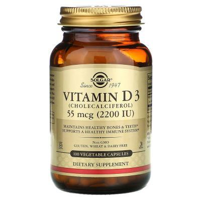 Витамин D3, Vitamin D3, Solgar, 2200 МЕ, 100 капсул