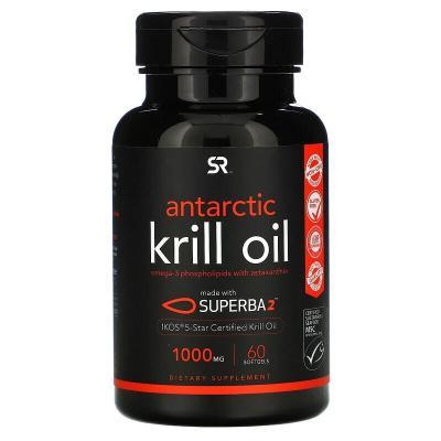 Масло антарктического криля с астаксантином, Antarctic Krill Oil, Sports Research, 1000 мг, 60 мягких таблеток