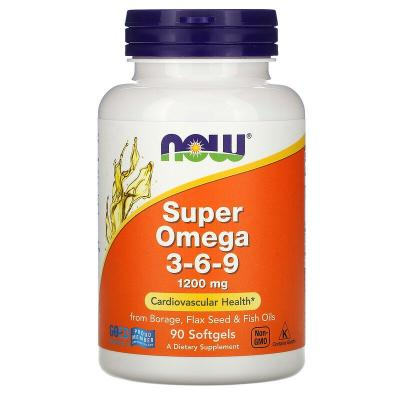Супер омега 3 6 9, Super Omega 3-6-9, Now Foods, 1200 мг, 90 капсул