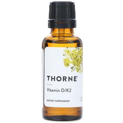 Витамин Д и К2, Vitamin D/K2, Thorne Research, 30 мл