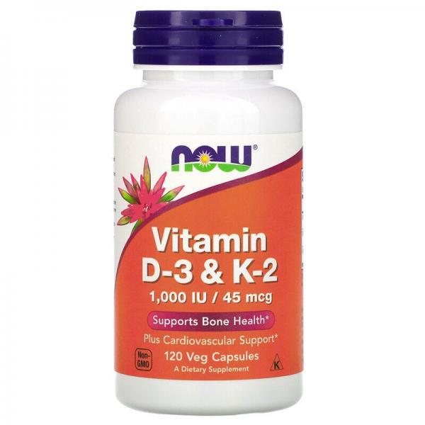 Витамин Д3 и К2, Vitamin D-3 & K-2, Now Foods, 1000 МЕ/45 мкг, 120 капсул