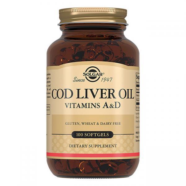 Витамин А и Д из печени Норвежской трески, Vitamin А and D Cod Liver Oil, Solgar, 100 капсул