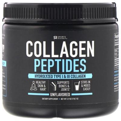 Пептиды коллагена, без ароматизаторов, Sports Research, 3,9 унций (110,7 г)