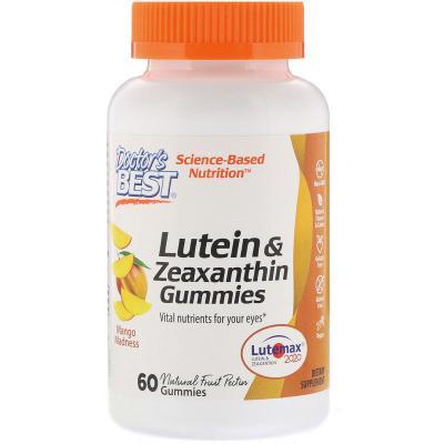 Лютеин и зеаксантин, со вкусом манго, Doctor's Best, 60 жевательных таблеток