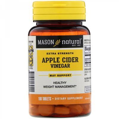Яблочный уксус особой крепости, Apple Cider Vinegar, Mason Natural, 100 таблеток