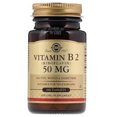 Solgar, Витамин B2 (рибофлавин), 50 мг, 100 таблеток - 264 грн - 206 грн - 1 шт