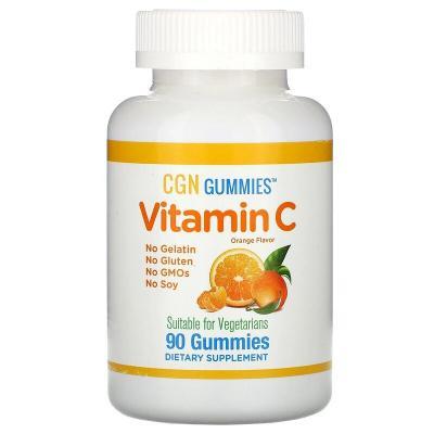 Витамин С, натуральный апельсиновый вкус, вегетарианский, California Gold Nutrition, 90 жевательных капсул