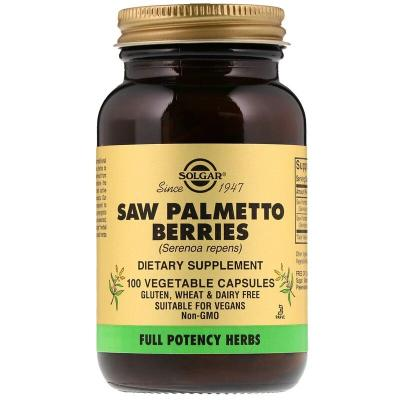 Со Пальметто, ягоды, Saw Palmetto, Solgar, 520 мг, 100 капсул