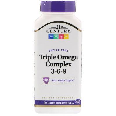 Тройной Комплекс Омега 3-6-9, 21st Century,  90 гелевых капсул