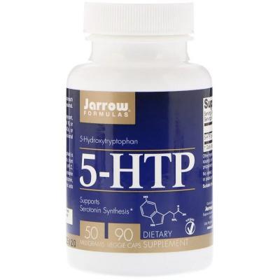 5-HTP, Гидрокситриптофан, Jarrow Formulas, 50 мг, 90 вегетарианских капсул