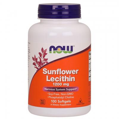 Подсолнечный лецитин, Sunflower Lecithin, Now Foods, 1200 мг, 100 капсул