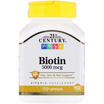 Биотин, Biotin, 21st Century, 5000 мкг, 110 капсул