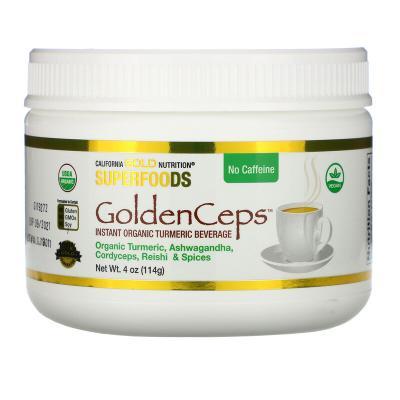 Органическая куркума с адаптогенами, Organic Turmeric with Adaptogens, California Gold Nutrition, 114 г