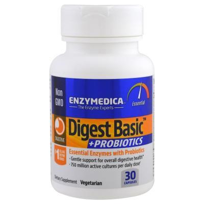 Ферменты и пробиотики, Digest Basic+Probiotics, Enzymedica, 30 капсул