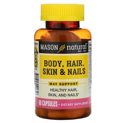 Тело, волосы, кожа и ногти, Body, Hair, Skin & Nails, Mason Natural, 60 капсул