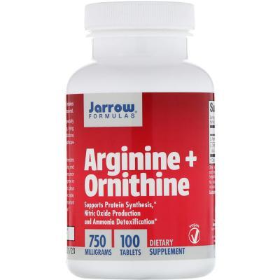 Аргинин орнитин, Arginine + Ornithine, Jarrow Formulas, 750 мг, 100 таблеток