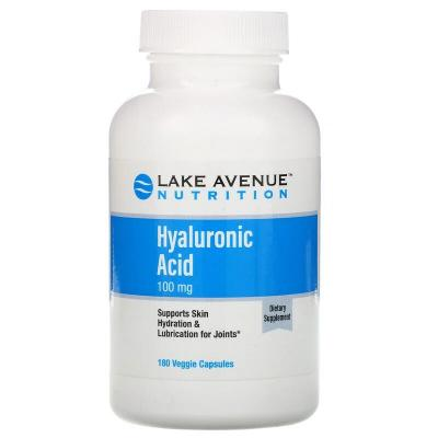 Гиалуроновая кислота, Hyaluronic Acid, Lake Avenue Nutrition, 100 мг, 180 растительных капсул