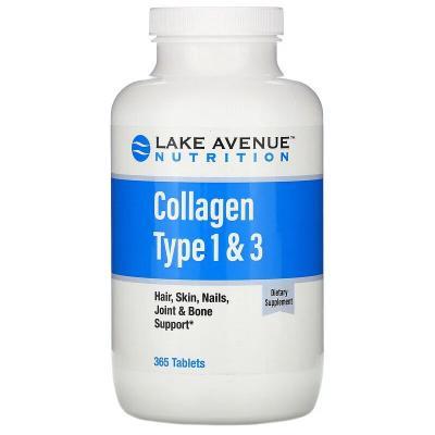 Гидролизованный коллаген типа 1 и 3, Lake Avenue Nutrition, 1000 мг, 365 таблеток