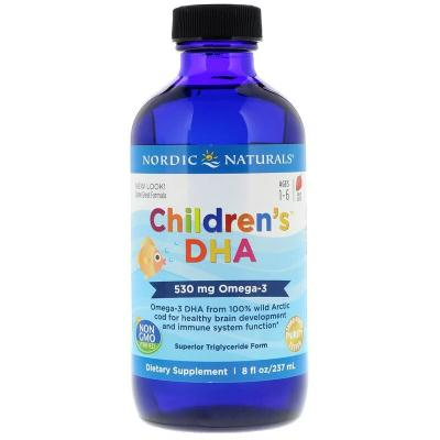 Жидкий рыбий жир для детей, Children's DHA, Nordic Naturals, клубника, 237 мл