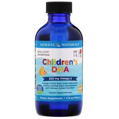 Жидкий рыбий жир для детей, Children's DHA, Nordic Naturals, клубника, 119 мл