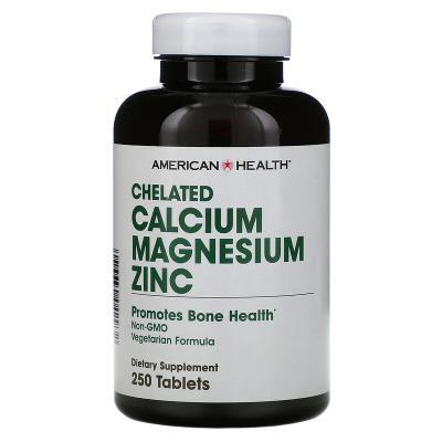 Кальций Магний Цинк, Calcium Magnesium Zinc, American Health, хелатный, 250 таблеток